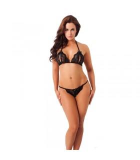 Rimba Amorable Bikini Abierto mas Tanga Color Negro Talla unica